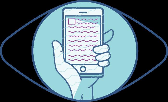Ilustración de un ojo y un teléfono de cerca